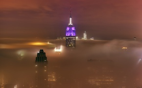 Picture the sky, light, the city, lights, fog, the building, skyscrapers, cloud, haze, new York, New …