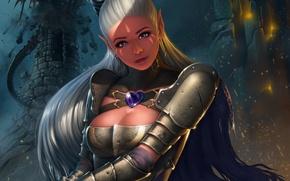 Wallpaper beauty, look, art, Antalya, warrior, girl, fantasy, elf, armor