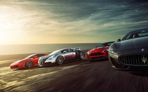 Picture Ferrari F430, Bugatti Veyron, Speed, Sunset, Supercars, Sea, Aston Martin Vantage, Maserati Grant Turismo
