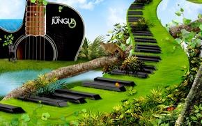 Wallpaper guitar, grass, keys, clouds, animals
