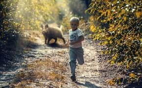 Picture boy, running, boar