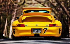 Picture 911, Porsche, road, yellow, back, 993, reputation, ctr2