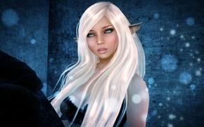 Picture look, girl, face, rendering, hair, elf, freckles, ears