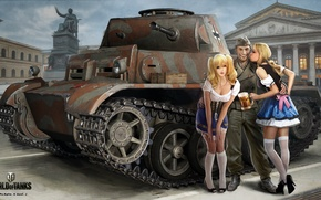 Wallpaper Nikita Bolyakov, mug, art, German, the city, area, World of Tanks, figure, soldiers, Palace, tank, ...