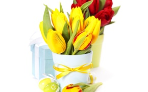 Picture Bow, Gifts, Easter, Eggs, Vase, Tulips, photo, Flowers, Bouquet