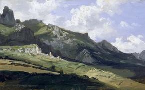 Picture landscape, mountains, nature, picture, panorama, Carlos de Haes, The mountain Range of Picos de Europa