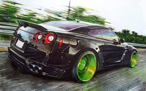 Picture speed, Nissan, GT-R, drives, Art, green, Liberty Walk