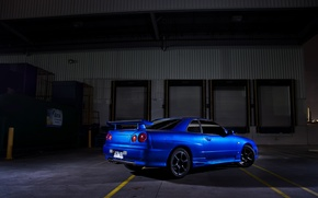 Picture blue, shadow, nissan, skyline, Nissan, r34, back, wing, skyline