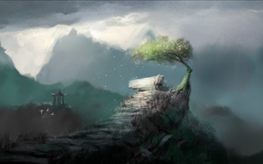 Picture mountains, tree, rocks, art, gazebo, crooked