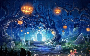 Wallpaper art, pumpkin, trees, the crypt, graves, helloween, lights, night, bats, stones, cemetery