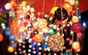Picture macro, light, lights, lights, garland, lanterns, colorful, bokeh