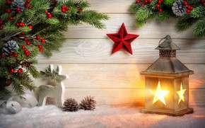 Picture snow, branches, star, deer, Christmas, lantern, New year, bumps, figure