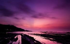 Wallpaper water, sunset, pink, shore