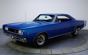 Picture blue, background, Dodge, Dodge, the front, Coronet, 1968, Muscle car, Muscle car, R T, Coronet