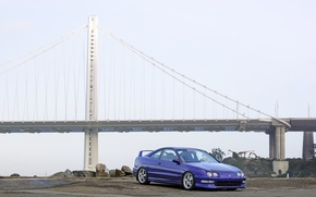 Picture turbo, wheels, honda, japan, blue, jdm, tuning, acura, integra, type r, type s