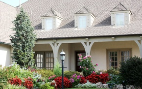 Picture flowers, house, lawn, lantern, mansion, the bushes