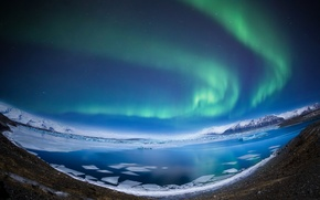 Picture winter, mountains, night, lake, Northern lights