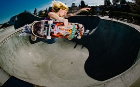 Wallpaper bowl, tattoo, people, extreme sports, jump, skateboarding, the sky, solar, skateboard