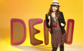 Picture yellow, smile, background, hat, dress, hairstyle, singer, brown hair, jacket, pants, Demi Lovato, Demi Lovato