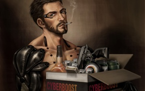 Wallpaper cigarette, Deus Ex: Mankind Divided, box, Deus Ex: Human Revolution, deus ex, Adam Jensen, smokes, ...