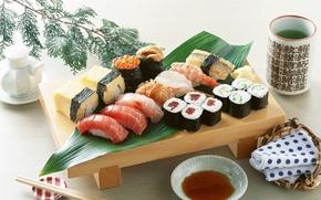 Wallpaper food, fish, cheese, figure, caviar, sushi