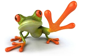 Picture graphics, paw, frog, Free frog 3d