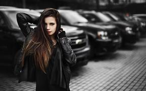 Picture auto, look, the city, model, Moscow, Nastya, Chevrolet Tahoe III