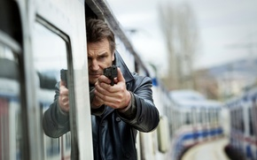 Picture gun, weapons, train, the car, Liam Neeson, Liam Neeson, Taken 2, Hostage 2