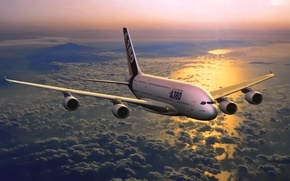 Picture Airbus, The sky, A380, Aviation, Flies, Sunset, In the air, Sea, The plane