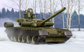 Picture winter, smoke, protection, art, artist, tank, Cobra, case, grenade launcher, polygon, guns, exercises, Russian, rocket, ...