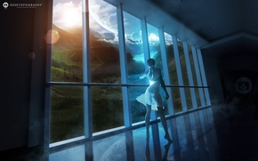 Wallpaper girl, clouds, landscape, river, planet, view, dress, window, girl, window, Fantasy world, fantasy world