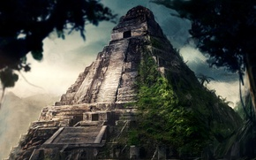 Picture jungle, painting, concept art, Pyramid