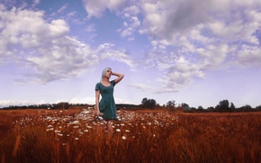 Picture the sky, girl, clouds, beauty, dress, chamomile field