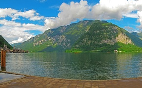 Picture forest, clouds, trees, mountains, lake, rocks, home, boats, Austria, promenade, Hallstatt