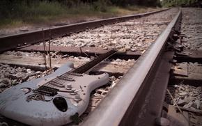 Picture music, guitar, railroad