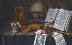 Picture oil, canvas, lemon zest and musical instruments, Evert Collier, Still life with a globe, Edwaert …