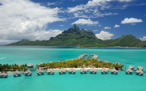 Picture Islands, the ocean, Polynesia, Bora Bora, resort, exotic