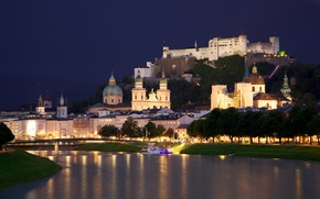 Picture river, Marina, the city, lights, Cathedral, Austria, The Salzach, Salzach, night, chapels, castle, houses, river, ...