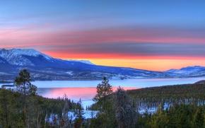 Wallpaper winter, sunset, lake