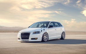 Picture white, the sky, clouds, Audi, Audi, white, tuning