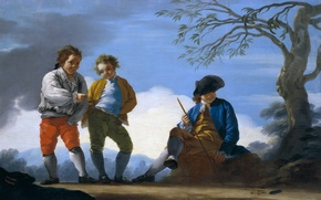Wallpaper tree, picture, hat, genre, Jose of the Castle, The boys are Playing Toss the coins ...
