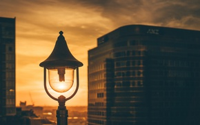 Picture light, twilight, sunset, dusk, lamp, cityscape