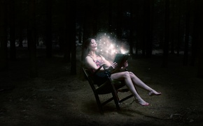 Picture forest, girl, night, fantasy, lights, chair, book, brown hair