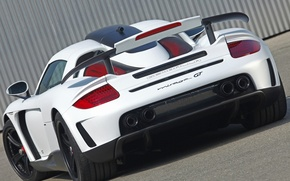 Wallpaper wing, Carrera GT, Porsche, rear view, tuning, gembala, mirage gt, carbon edition, carerra GT, white, ...