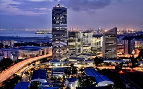 Picture the city, lights, port, Singapore, after sunset