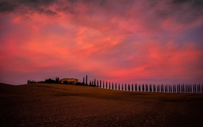Picture house, sky, trees, field, landscape, Italy, nature, sunset, clouds, evening, Tuscany