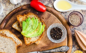 Picture sandwich, tomato, spices, avocado, toast
