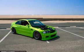 Picture beach, the ocean, BMW, California, E46, Rocket Bunny, M3, shade green