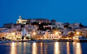 Picture sea, light, night, lights, island, yachts, houses, Spain, Ibiza