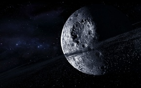 Wallpaper craters, ring, asteroids, multi monitors, planet, stars, space